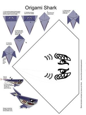 Printable Origami Shark With Pattern And 7 Steps To Assemble Schematic | free schematics