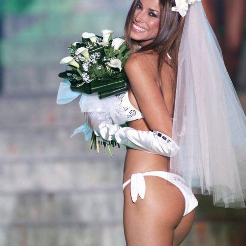 Model in a Bikini Beach Wedding Dress   http