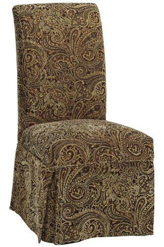 Parsons Side Chair Skirted Slipcover 405Hx205W RED PAISLEY By Home Decorators Collection