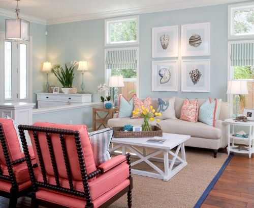 Light Blue Coastal Home With Pops Of Bright Coral.... Http