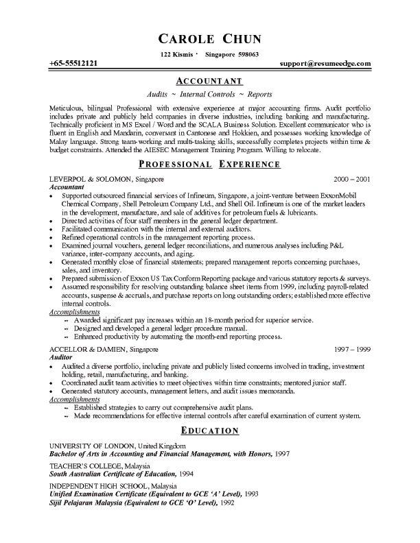 Traditional chronological resume sample