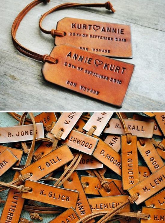 personalized leather luggage tags. a great & useful wedding favor for your friends and family!