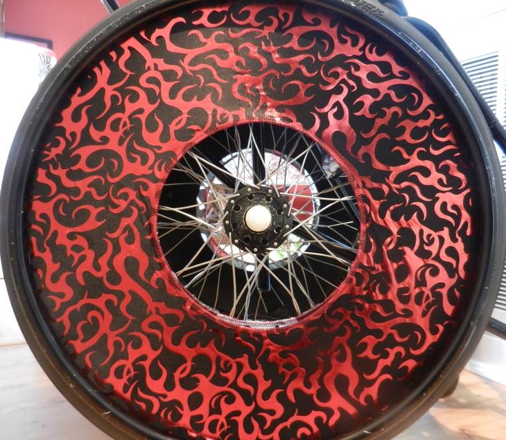 Red Metallic Flame Wheel Covers. 45.00, via Etsy. So COOL