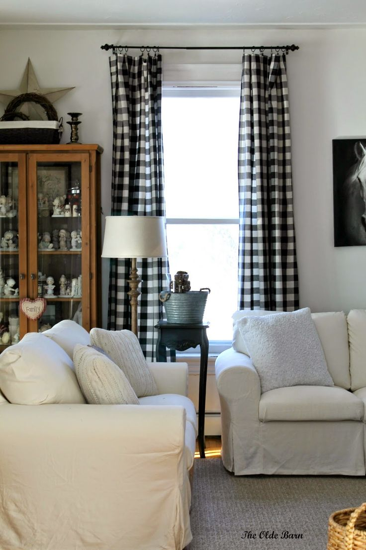 Vintage Living Room with Black White Buffalo Check Curtain