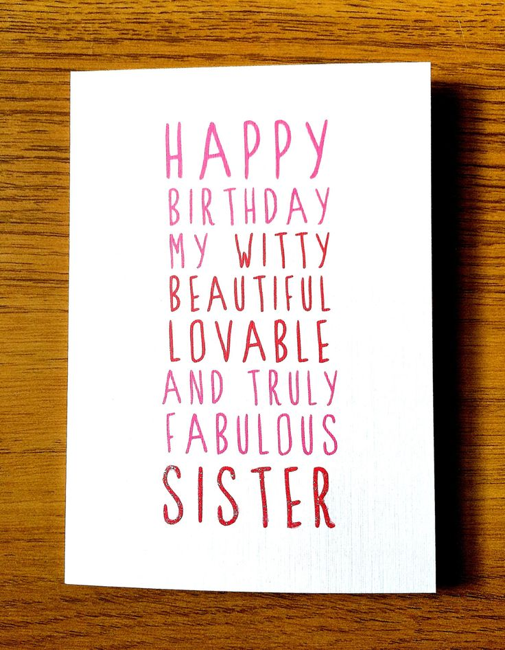 Sweet Description Happy Birthday Sister Card Happy