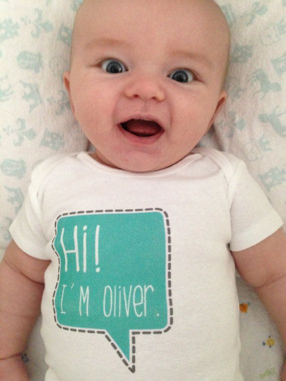 [just ordered this to announce his name (not Oliver) after hes born!] newborn name bodysuit – personalized name – cute speech