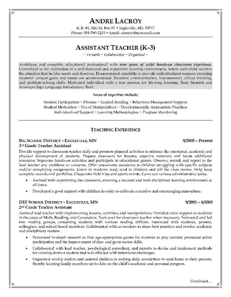Teacher Assistant Resume Objective http//www
