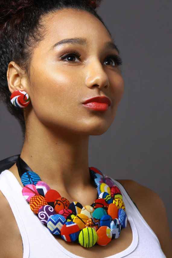 I need this in my life. Multicolored Button Ankara Statement Neckpiece by AnkaraStatement, $40.00