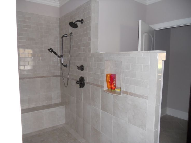 Another Angle Of Walk In Doorless Shower Bench At End And
