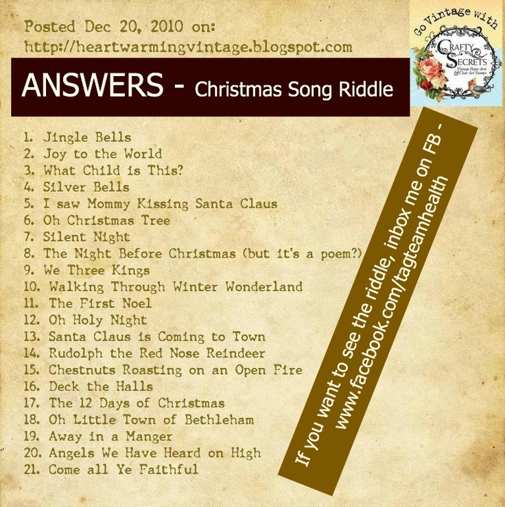 Christmas Song Riddles Answers Christmas Pinterest