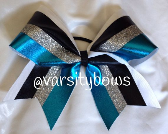 Teal Black White Silver Glitter Cheer Bow On Etsy 1400
