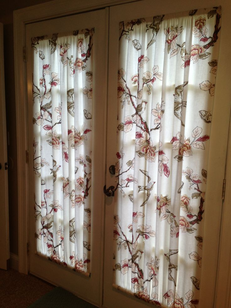 French Door Curtains Made From A 1900 Target Shower Curtain That We Cut In Half Home