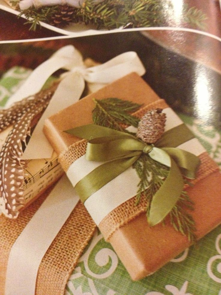 Wrapping idea natural materials, yet elegant. Gift