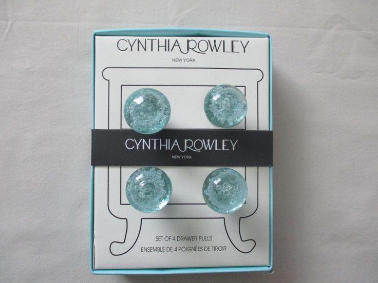 New Cynthia Rowley Set 4 Round Glass Cabinet Knobs