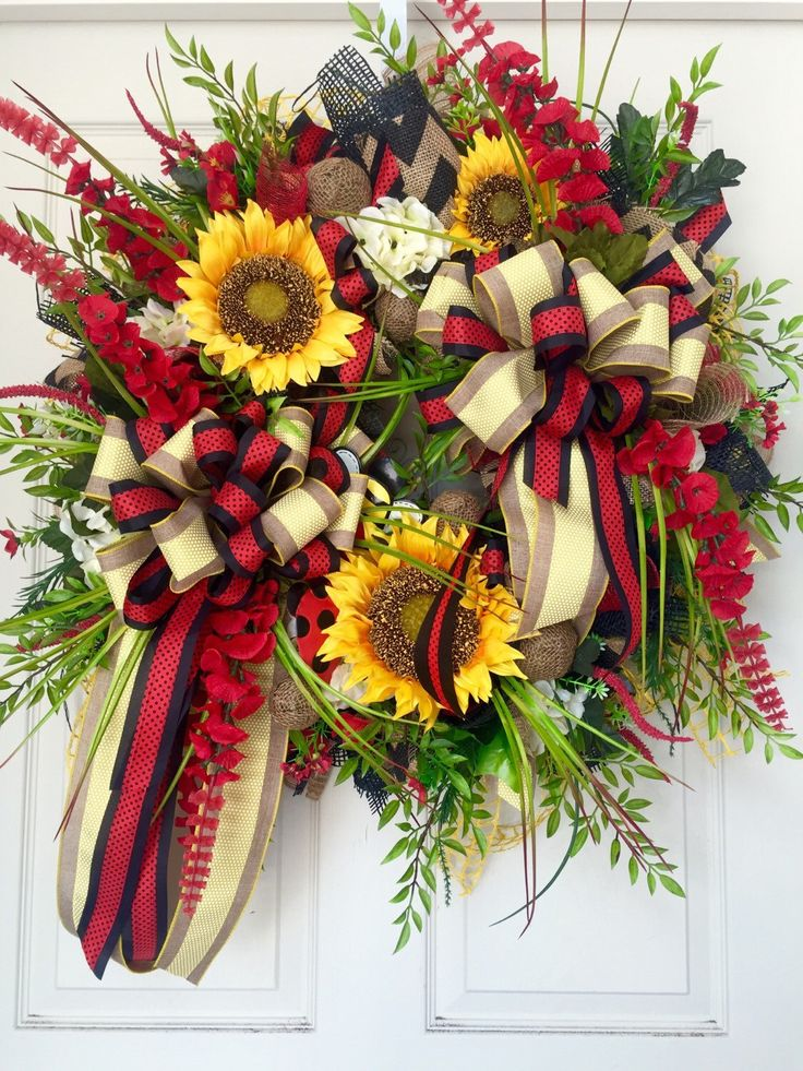 Red And Yellow Sunflower Mesh Burlap Everyday And Summer