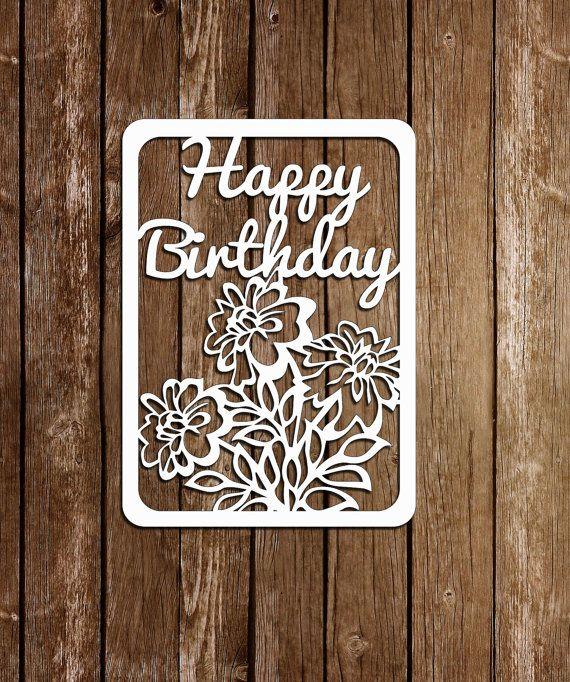 Papercut card, Birthday template,Paper Cutting Template