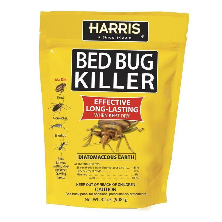 Harris 32 oz diatomaceous earth bed bug killer beds