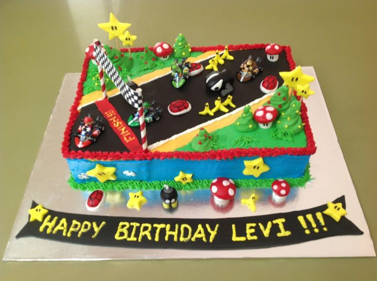 Mario Kart Birthday Cake Kids Birthday Cakes Pinterest