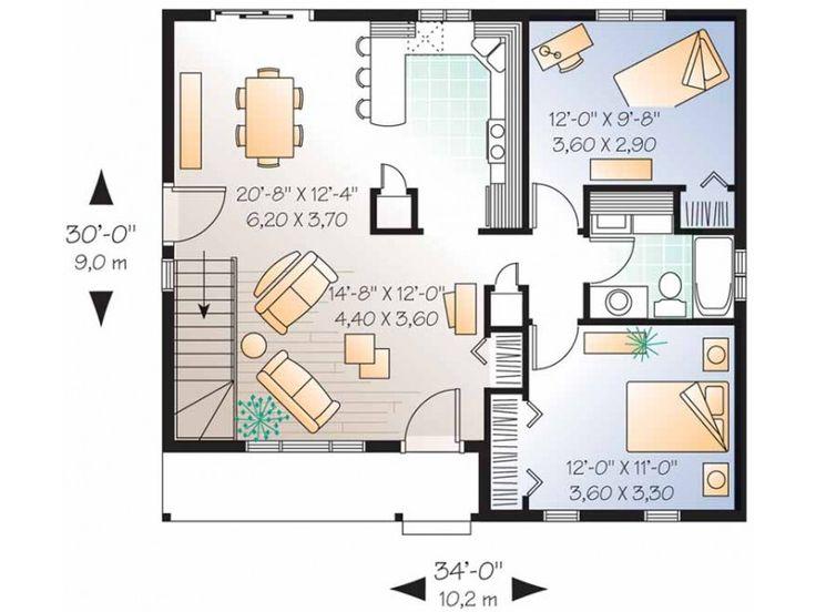 Bedroom 1 Bath Cottage Plan