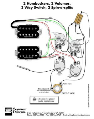 Seymour Duncan wiring diagram  2 Humbuckers, 2 Vol, 3 Way