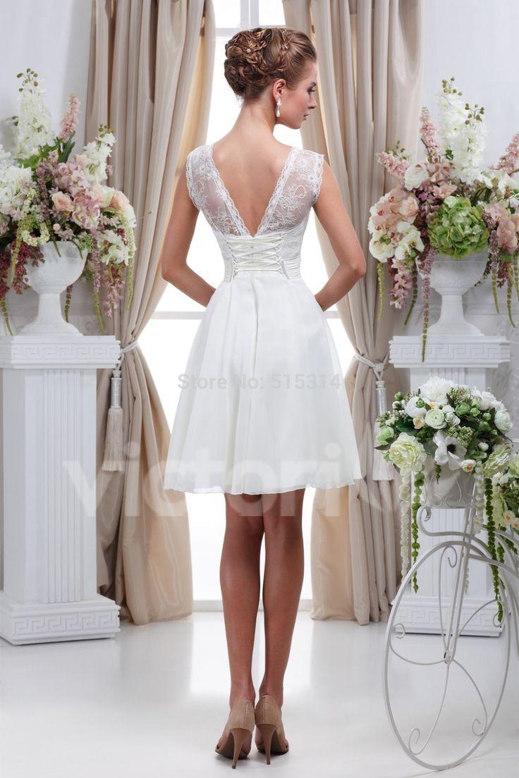 Simple white short wedding dress vestido de noiva curto