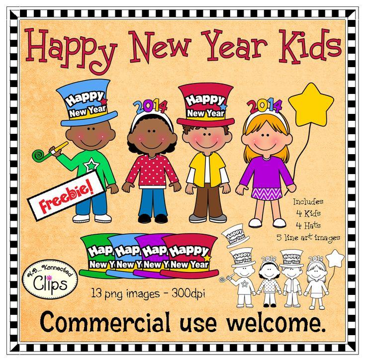 Freebie! Happy New Year Kids (includes line art) clipart