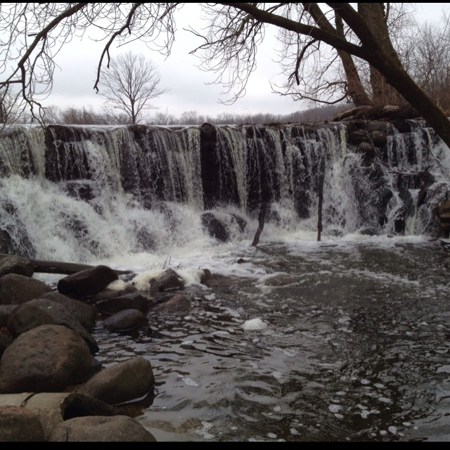 Waterfall in Whitnall Park located in Hales Corners, WI