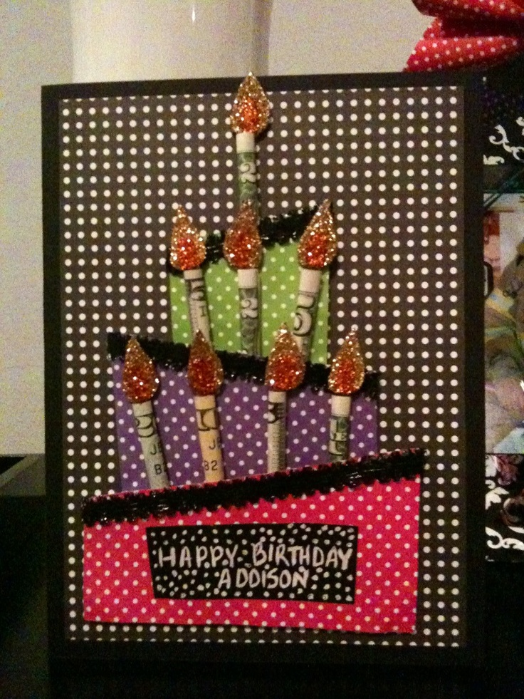 Money birthday candles card I made for my niece