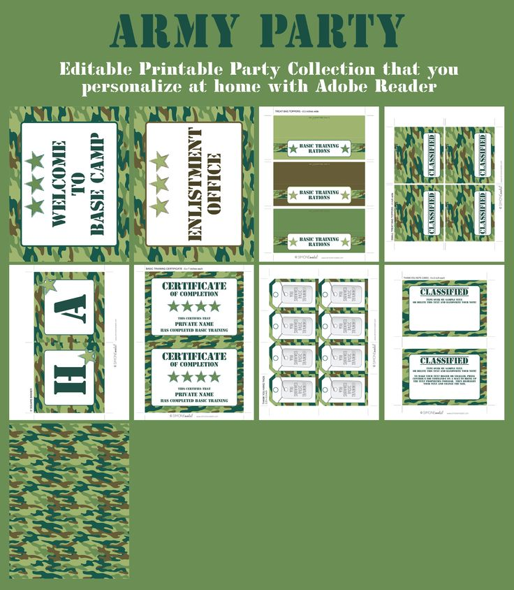 Army Party Printables, Invitations & Decorations camo