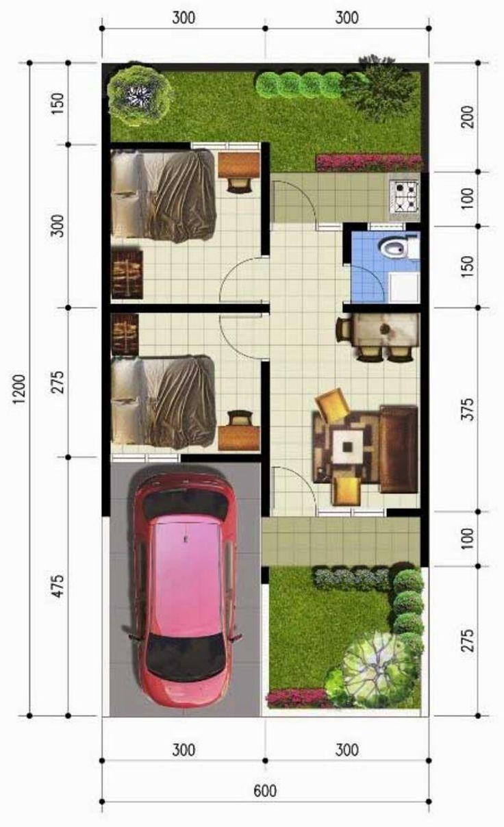 Denah rumah sederhana 6x12 meter KPR minimalis Ornamen