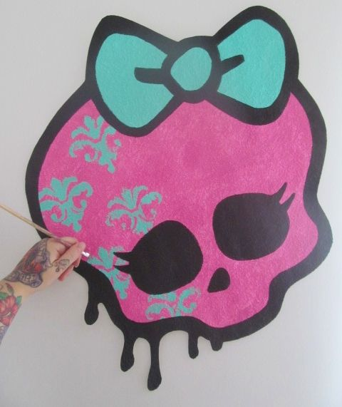 Handpainted Huge Monster High Y Skull Bow Logo Graffiti Drip Style Hand Painted Painting Wallpaper Sticker Decal Decor Wall Art Mural