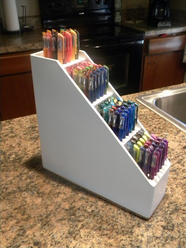 Craft room solid wood art tool pen caddy pencil holder