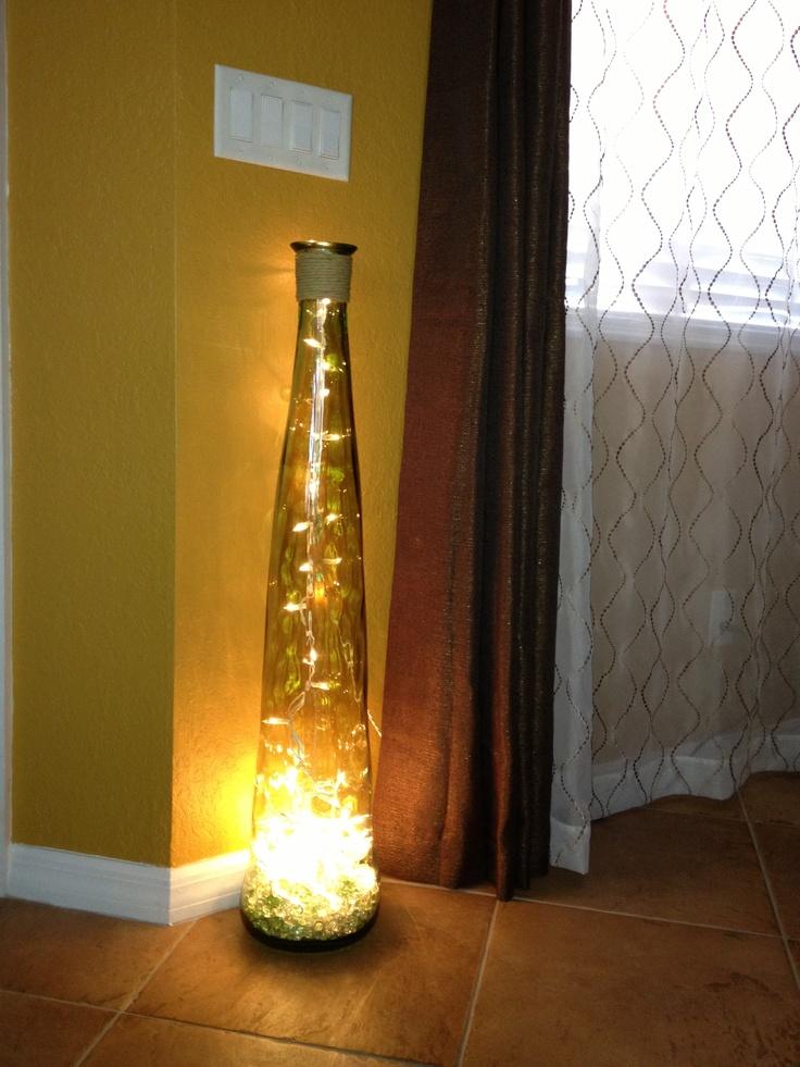 DIY Floor lamp Vase + Glass stones + String of lights
