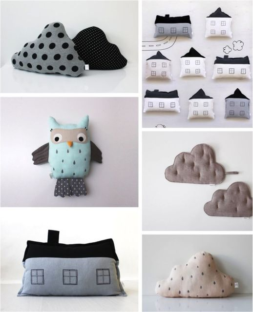 cloud, house & owl cushions for kids
