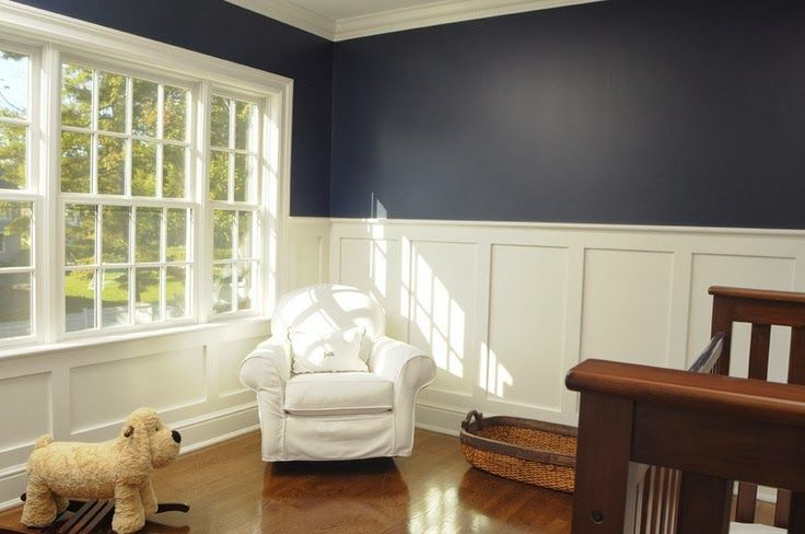 Dark Blue Wall With Wainscoting Google Search THE