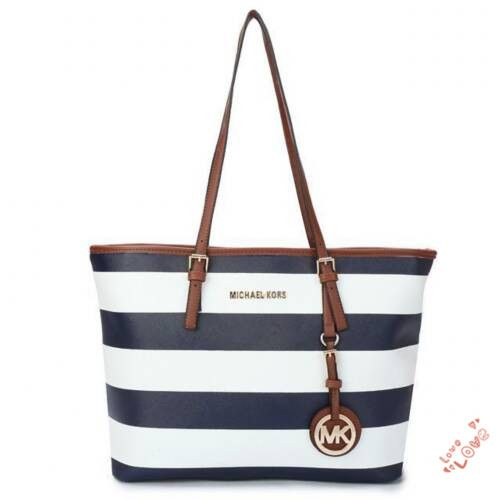 StylishMichael Kors Jet Set Striped Travel Large Black White Totes Will Suit Your Style, Come To Purchase