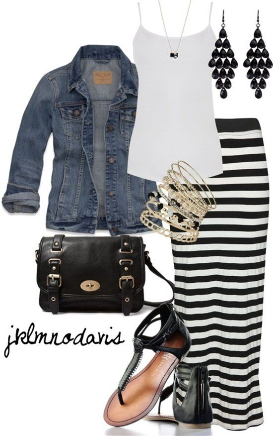 Stripe Long Skirts Outfit Idea for