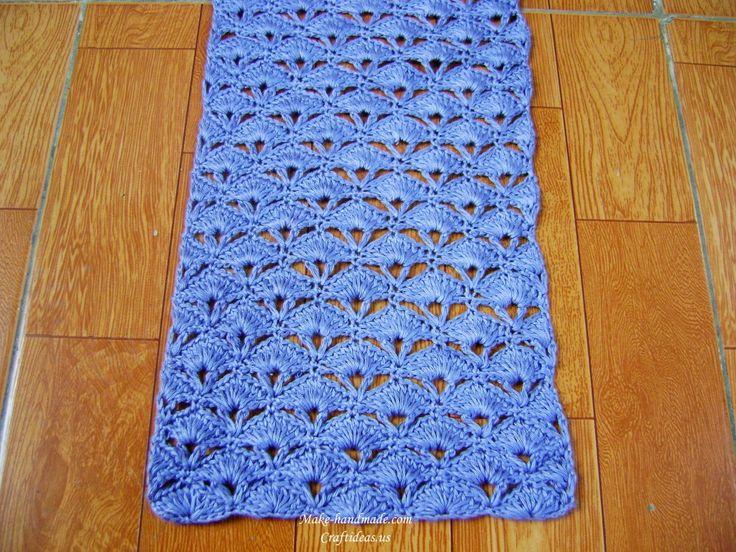Crochet Charming Fan And V Stitch Scarf Make Handmade