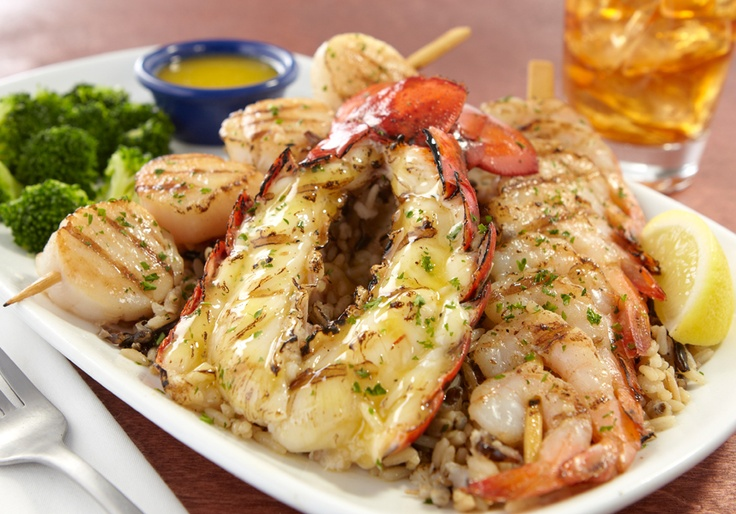 WoodGrilled Lobster, Shrimp and Scallops Sea Food