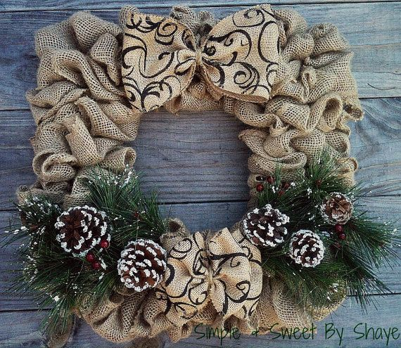 Square Burlap Wreath Handmade Winter Themed by