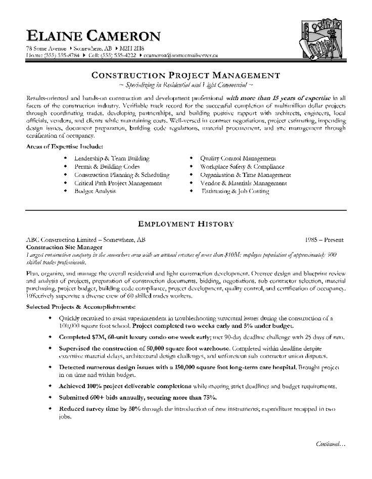 Construction Supervisor Resume Sample http//www