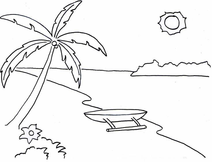 10 Mewarnai Gambar Pemandangan Alam Pantai Bonikids