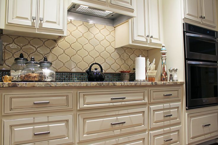 Traditional #kitchen Ideas. White Cabinets, Arabesque