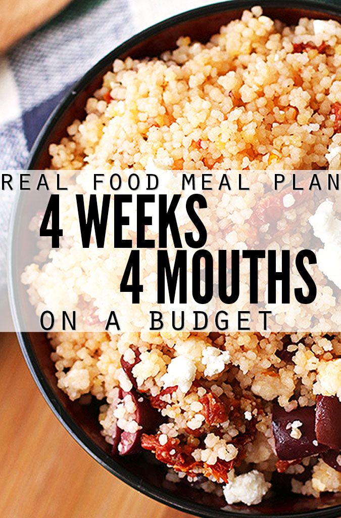 Monthly meal plan on a budget! Four weeks of meals