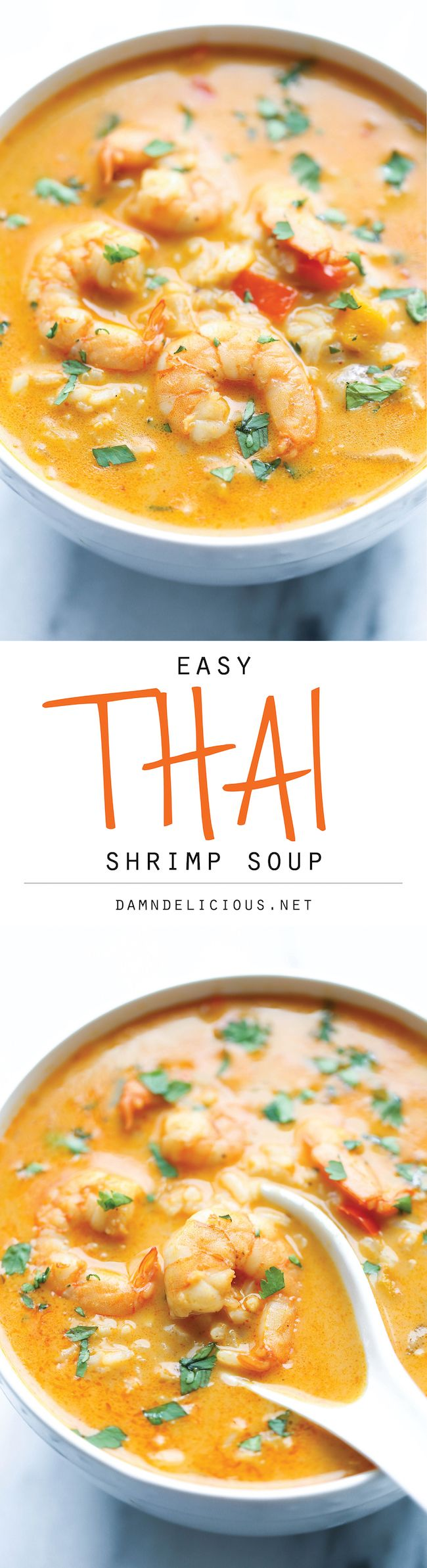 Easy Thai Shrimp Soup – Skip the take-out and try making this at home – it's unbelievably easy and 10000x tastier and healthier!