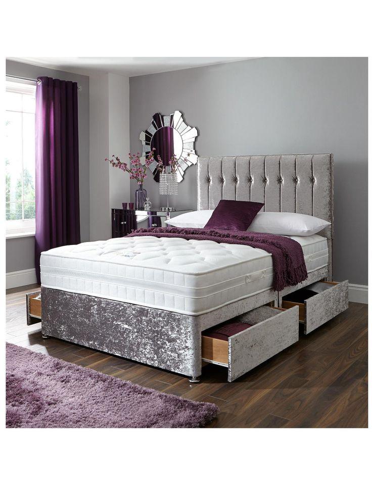 Sheba Cushed Velvet Divan Bed Includes Headboard