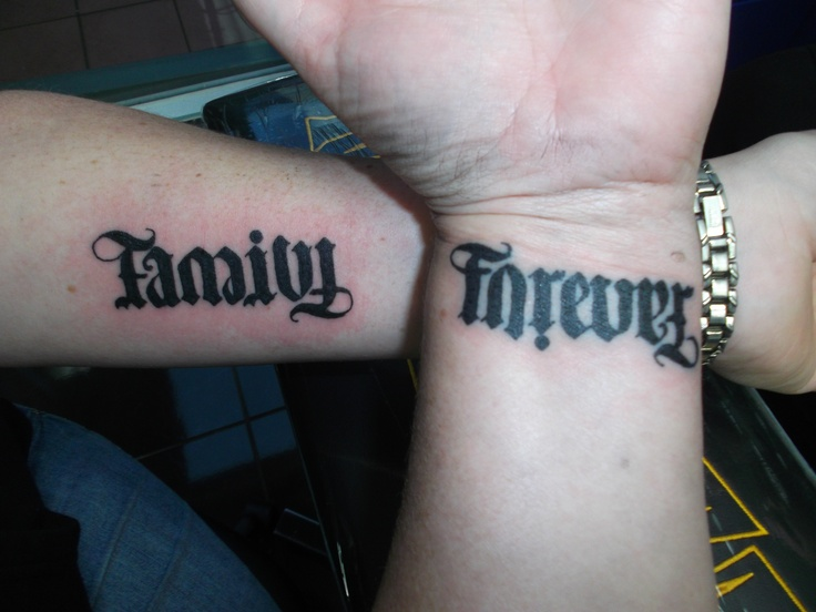"""My sister and I got matching ambigrams """"Family Forever"""
