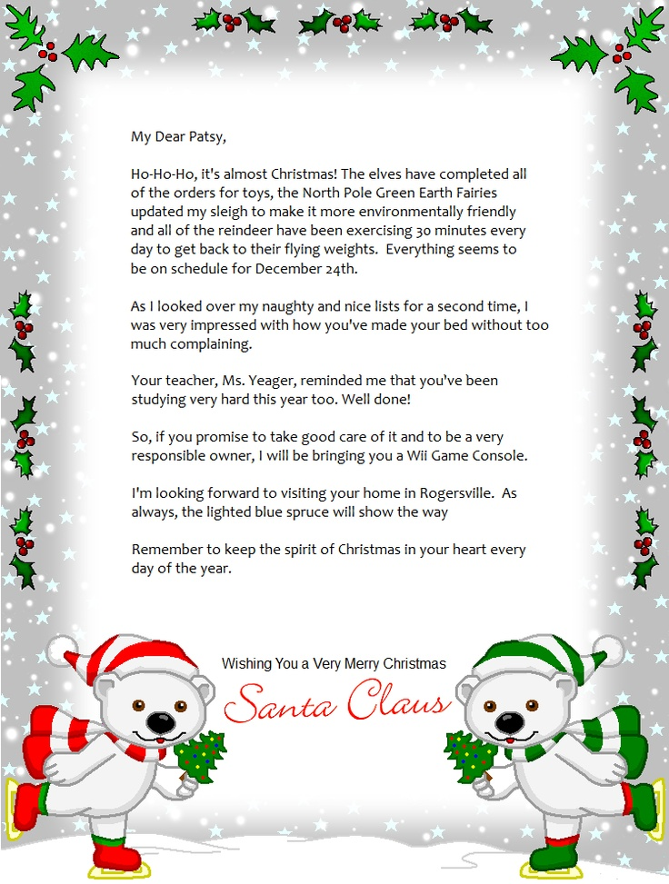 FREE Printable Christmas letters from Santa Making