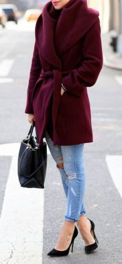 I love this coat, but it seems dumb to me to wear it with holy jeans and heels in the winter...: