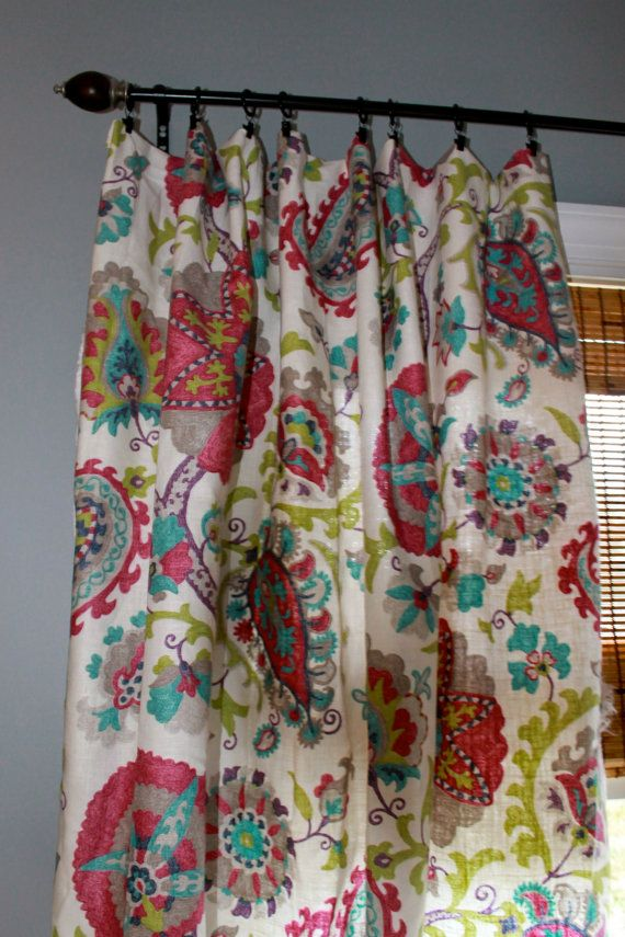 Magenta Teal Grey Green And Ivory Floral Curtain Panel